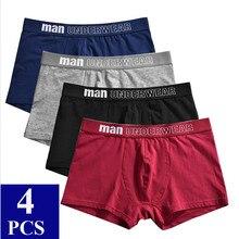4 pçs/lote roupa interior dos homens de algodão boxer homme underwear respirável sólido gay boxershorts homem cueca