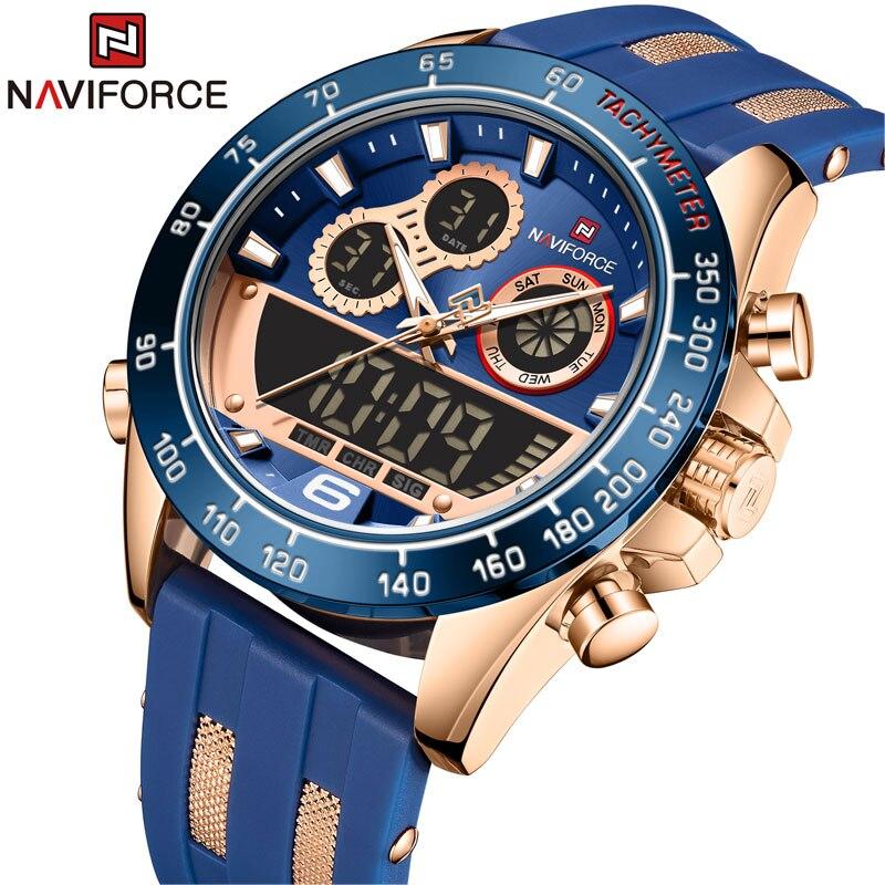 NAVIFORCE Men Luxury Brand Watch Waterproof Digital Military Quartz Wrist Watch Sport Chronograph Silicone Strap Watches for Men
