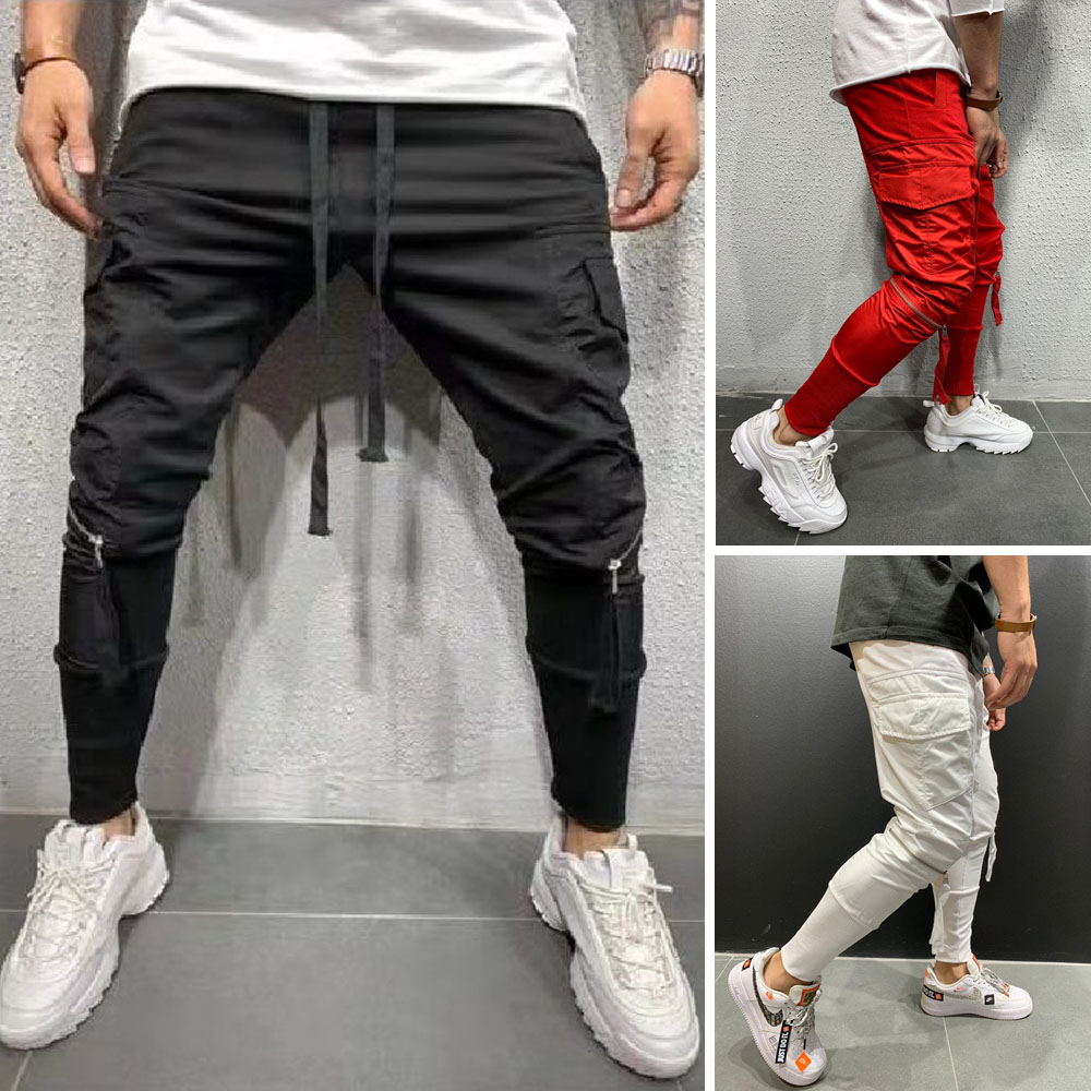2019 Men Casual Sports Gym Slim Fit Skinny Long Pants Male Solid Color Cool Style Pencil Pant Plus Size