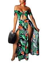 Женское летнее платье макси с цветочным принтом открытыми плечами