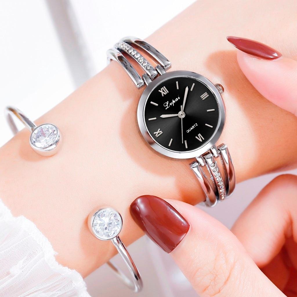 LVPAI Brand Women Watches Fashion Simple Star Inlaid Rhinestone Stainless Steel Watch Ladies Quartz Watch Relogio Feminino