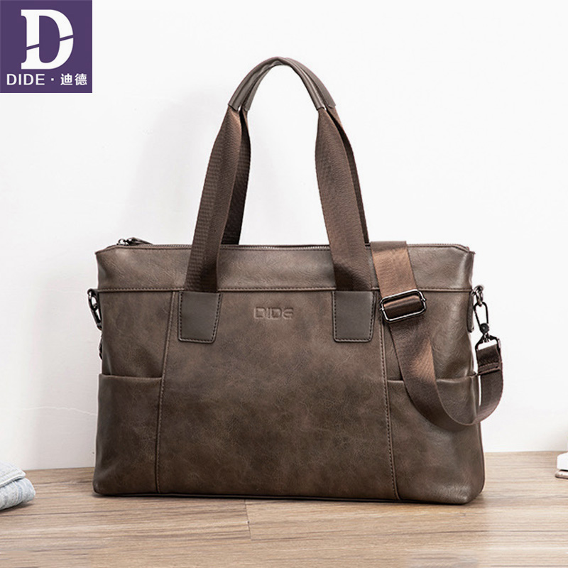 DIDE Business Laptop Briefcases For Men Famous Brand Leather Shoulder Messenger Bags Office Handbag 15 Inch Casual Male Bag