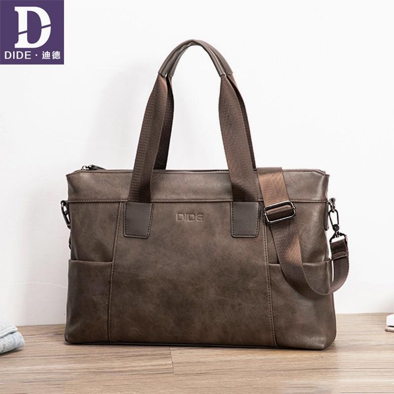 DIDE Business Laptop Briefcases For Men Famous Brand Leather Shoulder Messenger Bags Office Handbag 15 Inch Casual Male Bag