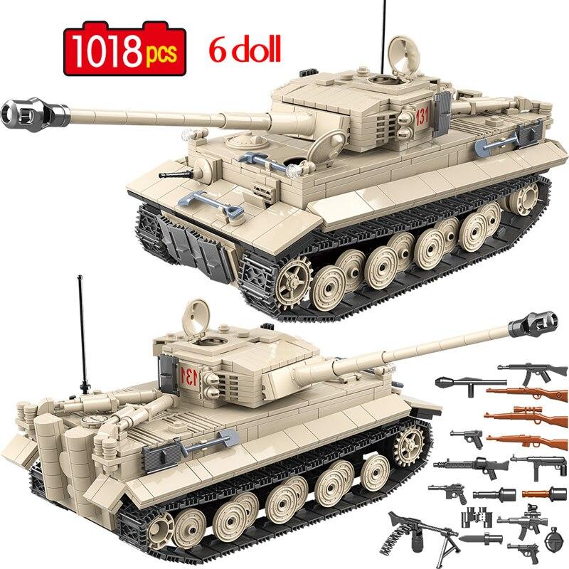 1018 Pcs Exército Militar 131 Blocos de Construção Do Tanque Do Tigre Alemão legoingly WW2 Soldado Arma Kits de Tijolos Educação Brinquedos para Meninos