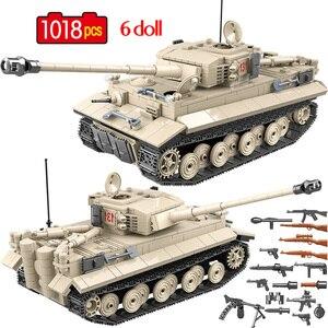 1018 Pcs Military German Tiger 131 Tank Building Blocks Army WW2 Soldier Weapon Bricks Education Toys for Boys(China)