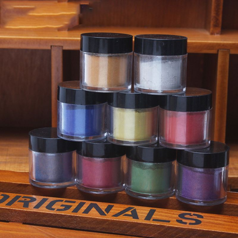 9 Pcs/set Pearlescent Mica Pigment  Pearl Powder UV Resin Crystal Epoxy Craft DIY Jewelry Making Slime Toning Color Highlight