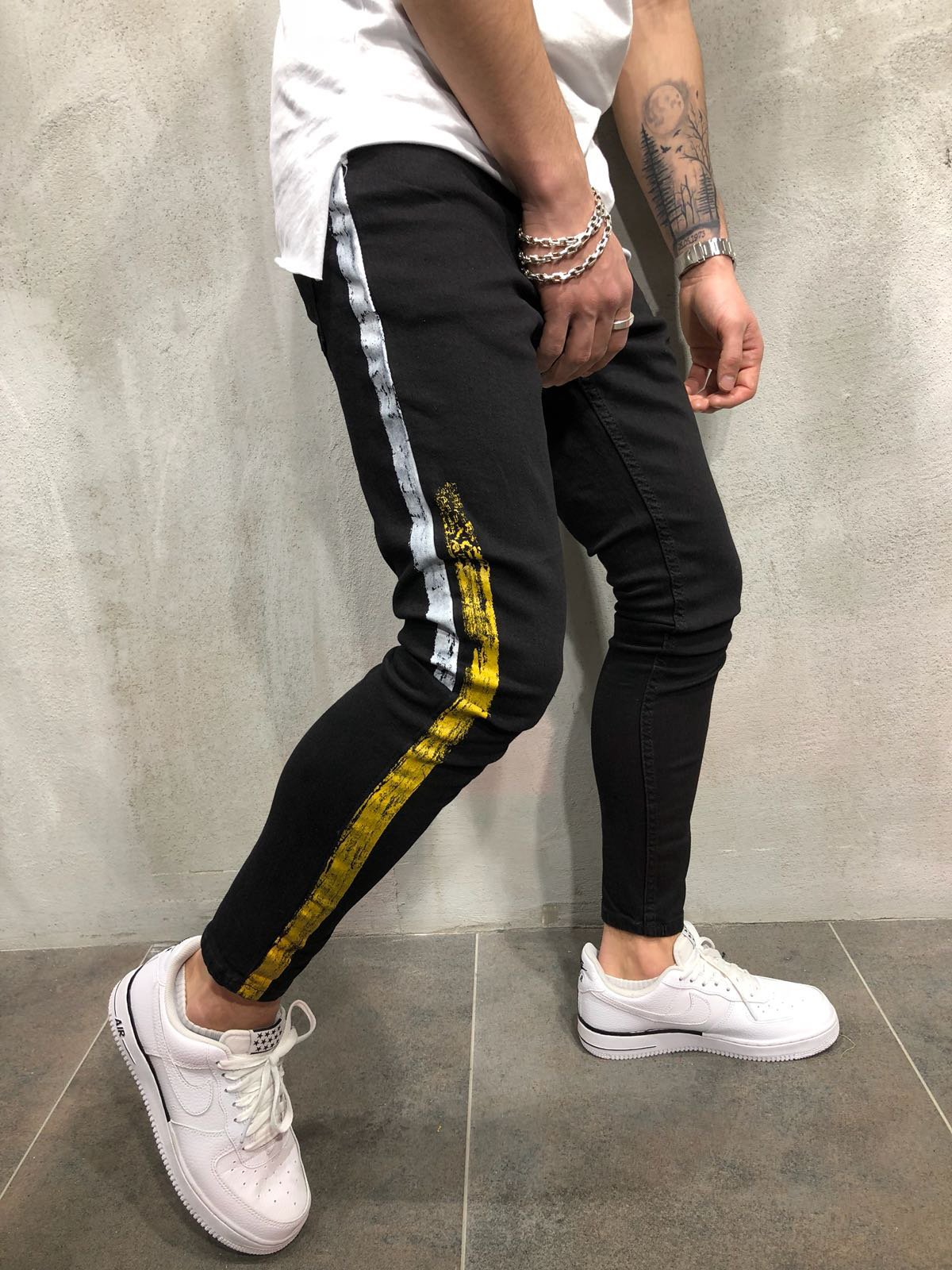 2018 Jeans MEN'S Black Dump Paint Edges Micro Elastic Black And White With Pattern Trousers New Style Fashion Men's Trousers