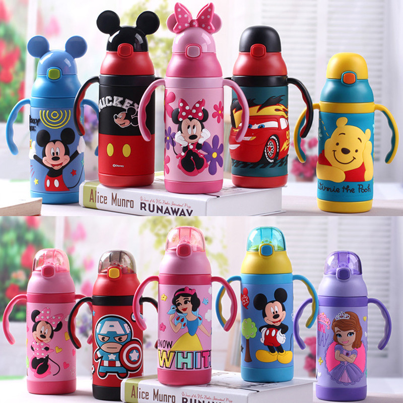 Disney Minnie Mickey Cartoon Baby Water Cup Stainless Steel Vacuum Insulation Bottle  Portable Straw Cup Festival Student Cups