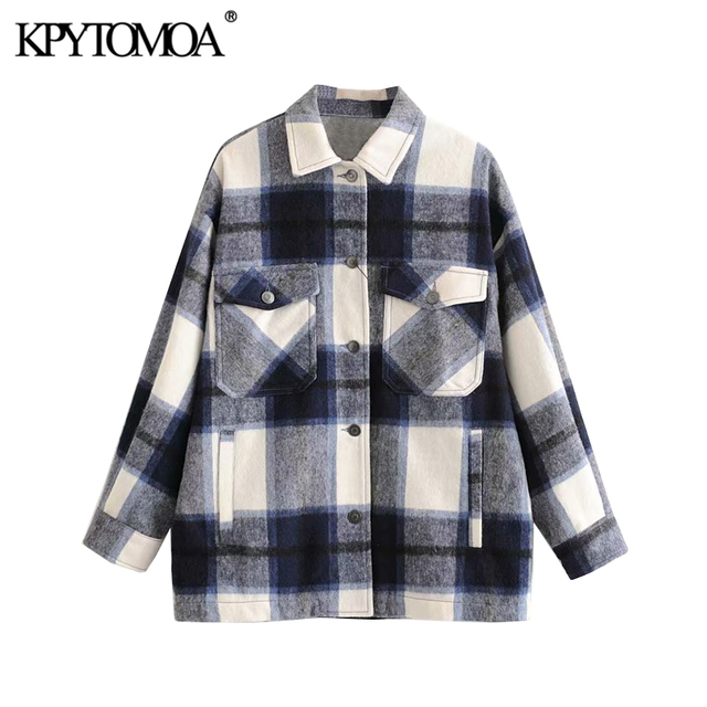 Vintage Stylish Plaid Jacket Coat Lapel Collar Long Sleeve Loose Outerwear Chic Tops 1