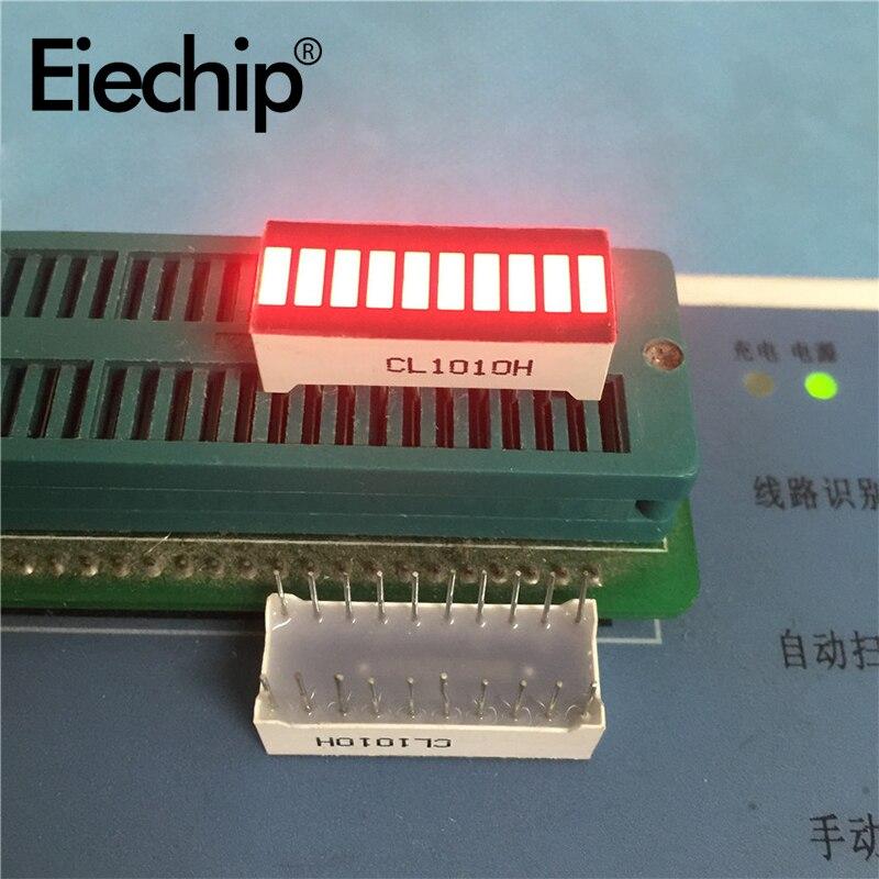 5pcs High Quality CL1010H Super Bright Red Light Bar LED Display 10-segment LED Light Bar 10-segment Digital Tube Light 25x10mm
