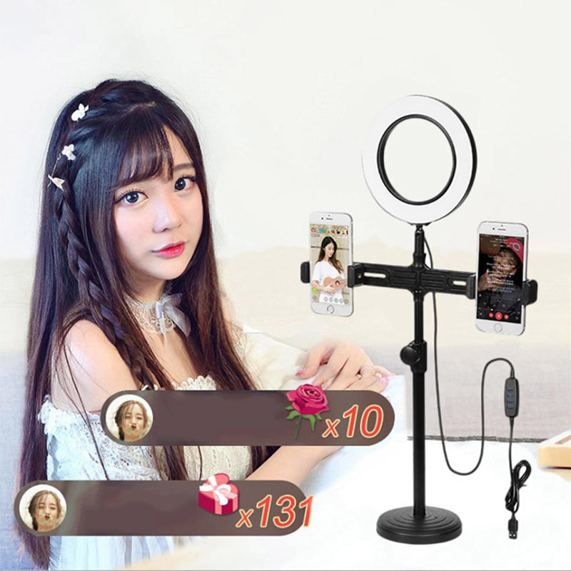 Selfie Video LED Ring Light Portable Photography Dimmable Ring Lamp with Tripod Phone Holder for iPhone xiaomi tiktok ringlight