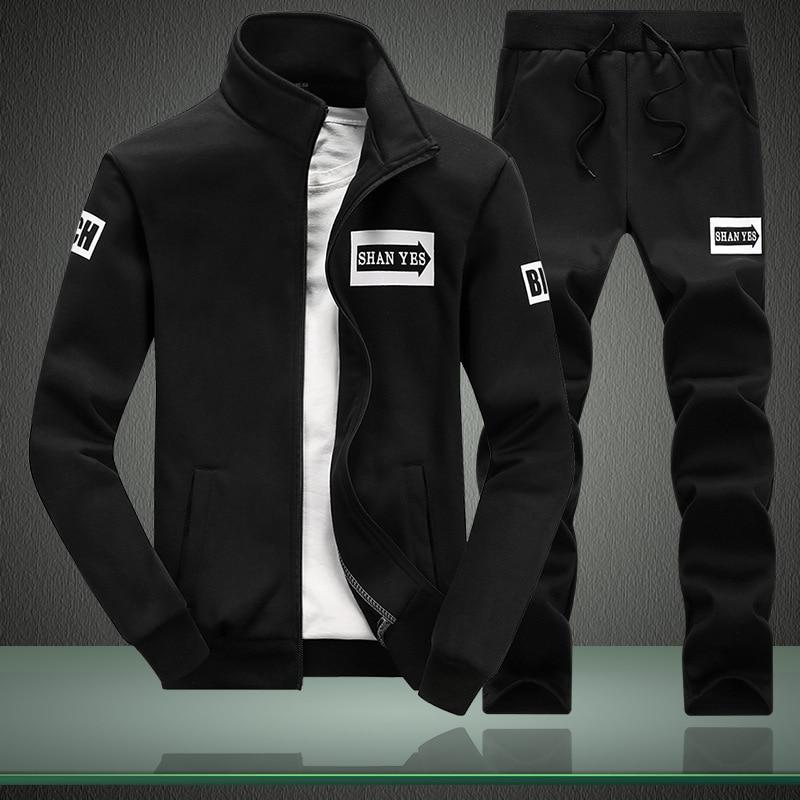 Tracksuits Men's Polyester Sweatshirt Sporting Fleece 2020 Gyms Spring Jacket + Pants Casual Men's Track Suit Sportswear Fitness