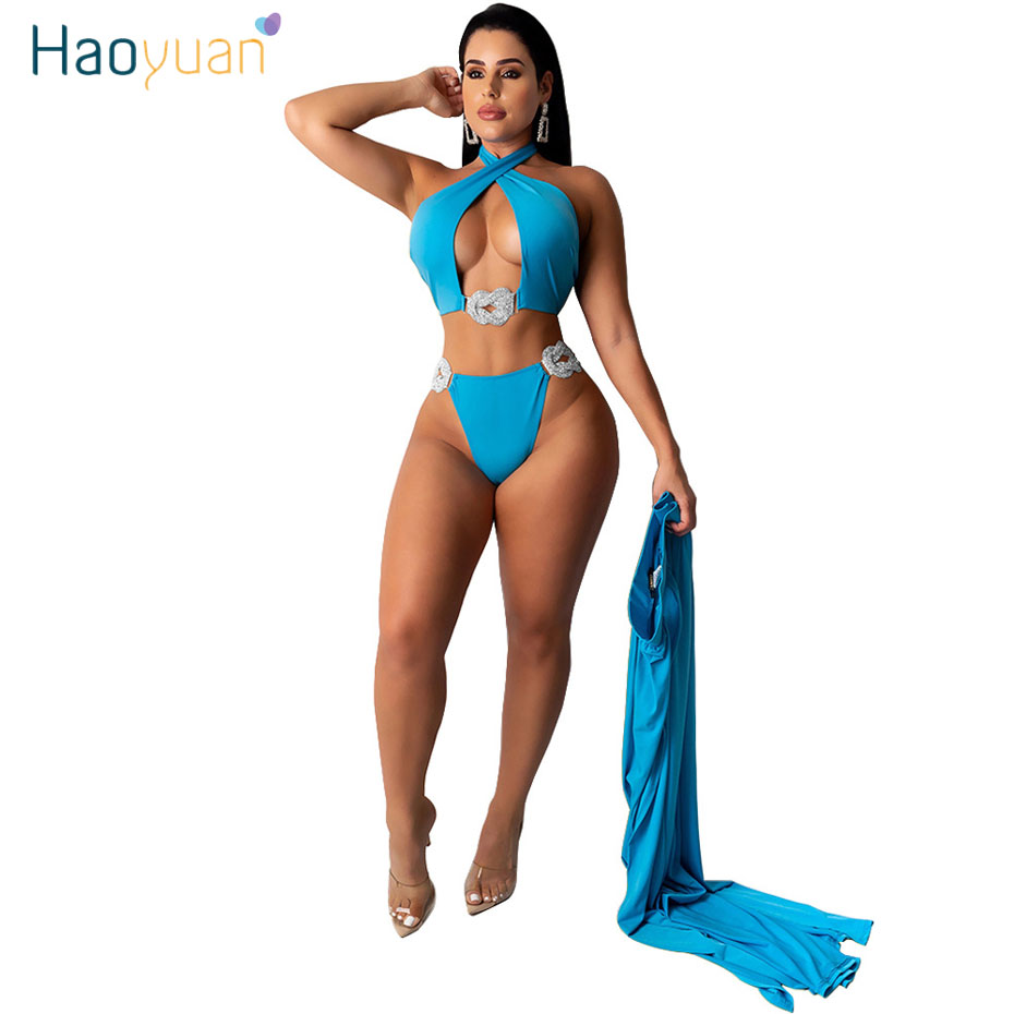 ZOOEFFBB Sexy 3 Pieces Set Women Summer Clothes Bikini Crop+Panties+Maxi Skirt Vacation Beach Wear Swimming Outfits Matching Set