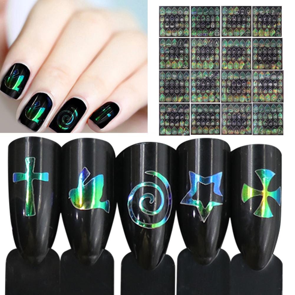 6 Sheets Nail Sticker Multicolor Hollow Salon 3D Art Stencil Bling Stickers For