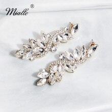 Miallo Fashion Baroque Wedding Earring Austrian Crystal Bridal Gold Long Drop Earrings for Bride Bridesmaids