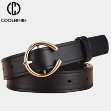 Women Belts Round Gold Buckle Leather High Quality Belts for Lady Designer Fashion Brand Luxury Jeans Strap AL025