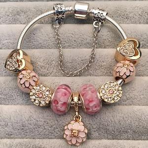 Luxury Crystal Flower Charm Bracelets & Bangles Gold Beads Bracelets For Women Jewellery Pulseira Feminina 2020 New Year Gift