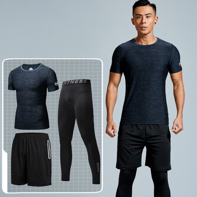 Sports Set Men Summer Workout Clothes Running Basketball Quick-Dry Shorts Leisure Suit Sports Clothing Three-piece Set