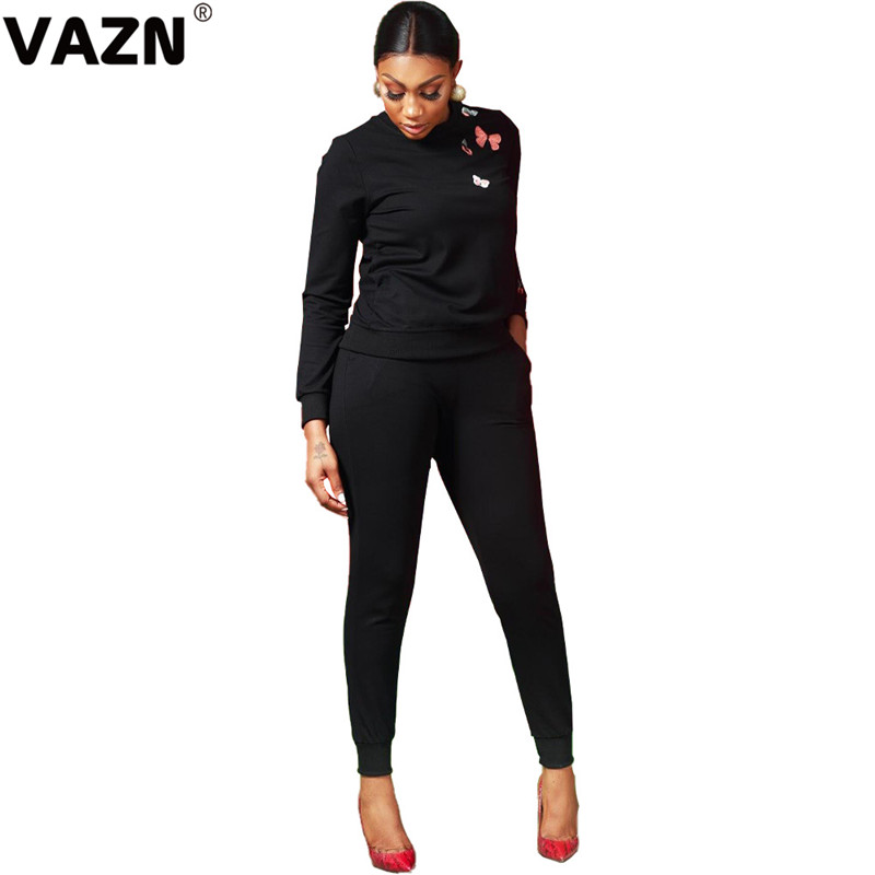VAZN FNN8307 New Bow Hot Casual Fashion Print Set 2019Tracksuit Full Sleeve Cloth Group Long Pants Slim 2 Piece Women Set