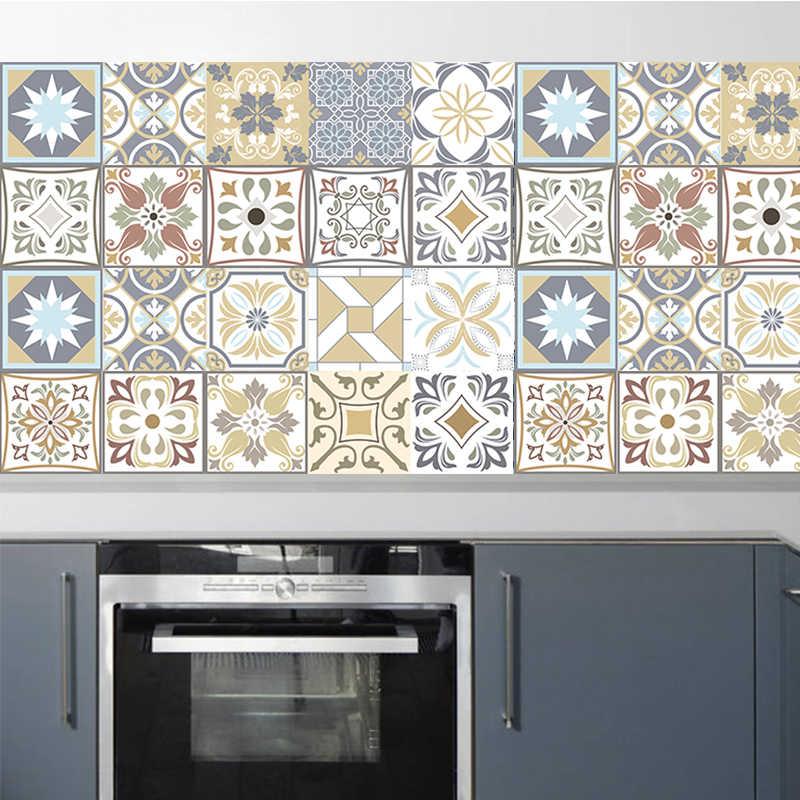 moroccan retro pattern tile sticker pvc bathroom kitchen waterproof mosaic wall vinyl tile stickers home decor wall art mural