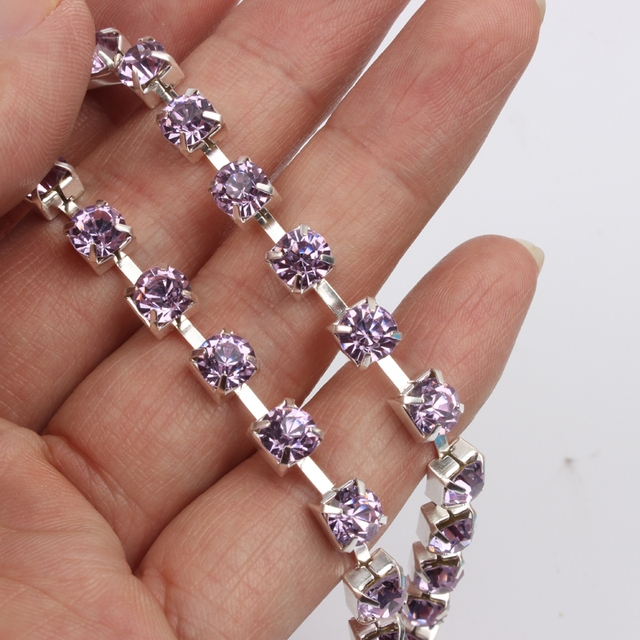 Silver SS28 crystal rhinestone cup chain base 1 yard / 3 yard / 5 yard 27 colors for clothing accessories
