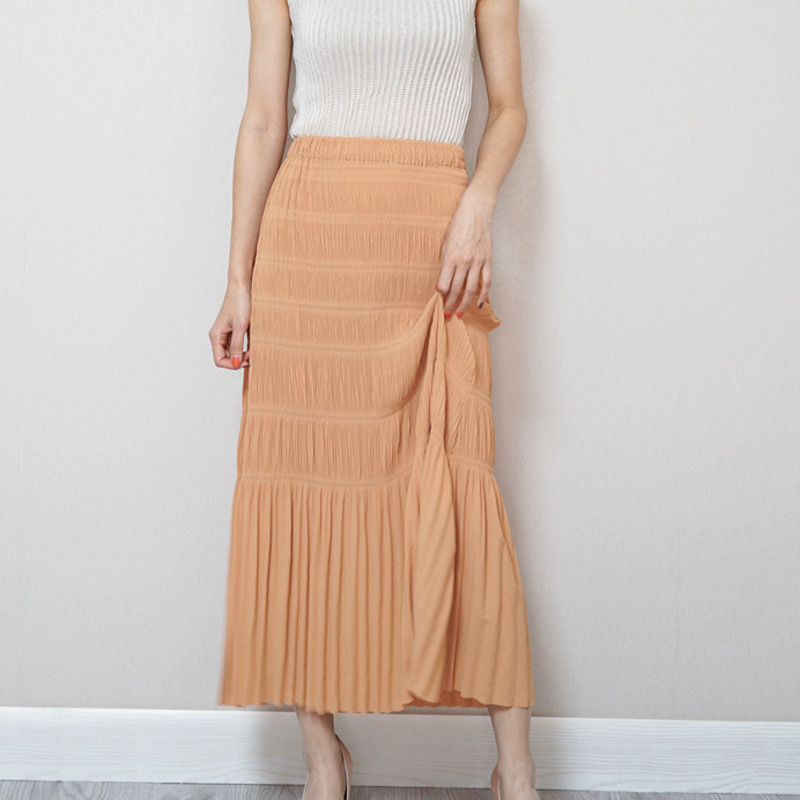 LANMREM 2020 New Spring And Summer Fashion Women Clothes High Waist A-line Pleated Big Bottoms Half Body Skirt WK50205