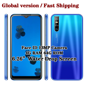 Quad core 9C Face id Unlocked 6.26inch Water Drop Big screen Smartphones 4G RAM 64G ROM Mobile Phones Android Phones celulars