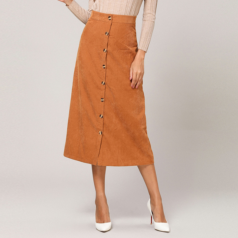 Corduroy Skirts Long Empired High Waist Midi Women Skirts Autumn Winter Vintage Pencil Buttons Elegant Office Lady Skirts LX216B