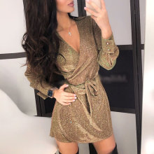 Glitter Autumn V Neck Sexy Dress Women Long Sleeve Female Sashes A-Line Bodycon Vestidos Nightclub Party Above Knee Mini