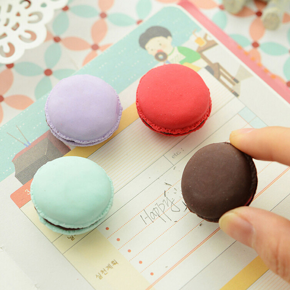 5 Pcs/Set Novelty Item  Cute Colorful Cake Rubber Eraser Creative Macaron Eraser For Kids Student Gift
