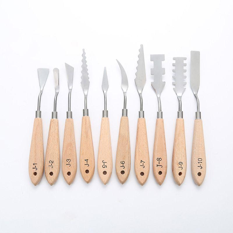 10pcs Stainless Steel Palette Scraper Paint Knives Blade For Artist Oil Acrylic