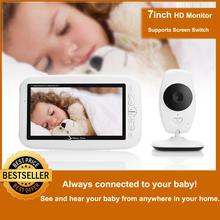 Monitor inalámbrico de 7 pulgadas para bebé, cámara con pantalla HD de 720P, intercomunicador de visión nocturna, Monitor de vídeo para bebé, compatible con interruptor de pantalla
