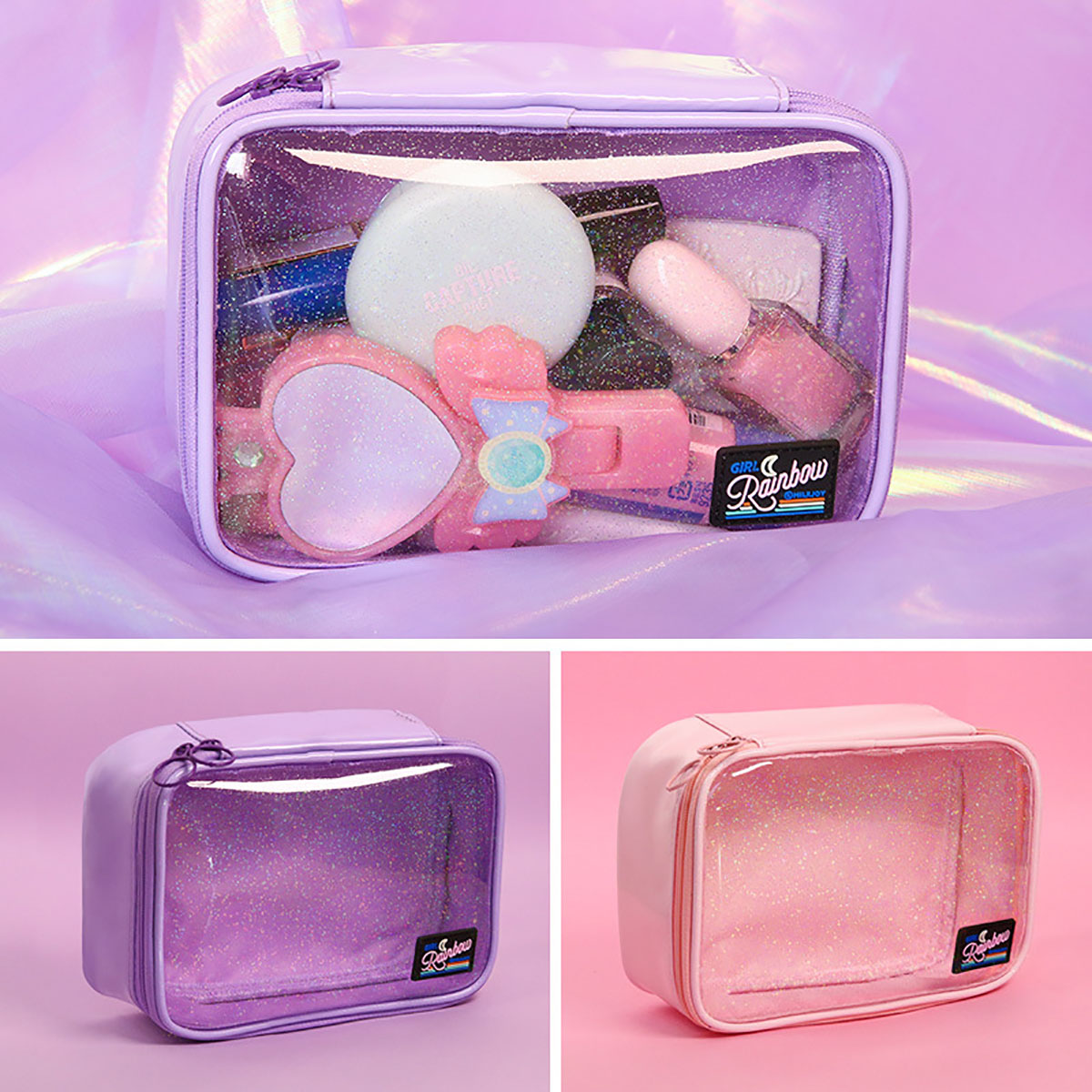 Potable Star Transparent Cosmetic Bag Beauty Storage Case Wash Pouch Toiletry Bag Women PVC Small For Makeup Tools
