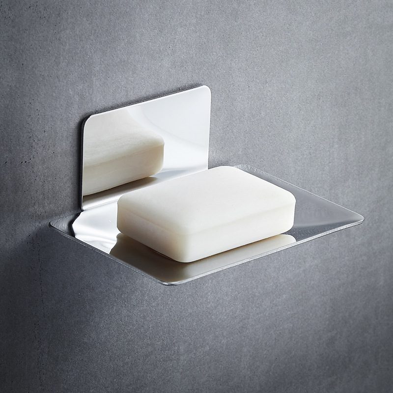 Stainless Steel Soap Holder Rack Wall-mounted Bathroom Accessories Punch-free Soap Box Hanger Draining Storage Plate