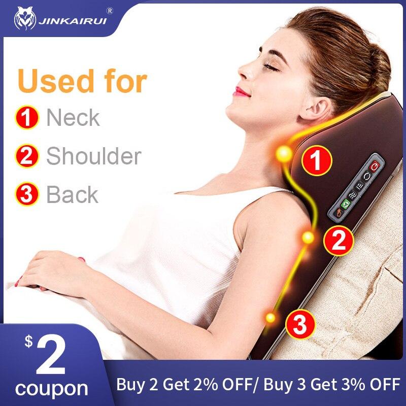 Jinkairui Neck Massager Car Home Cervical Shiatsu Massage Neck Back Waist Body Electric Multifunctional Massage Pillow Cushion