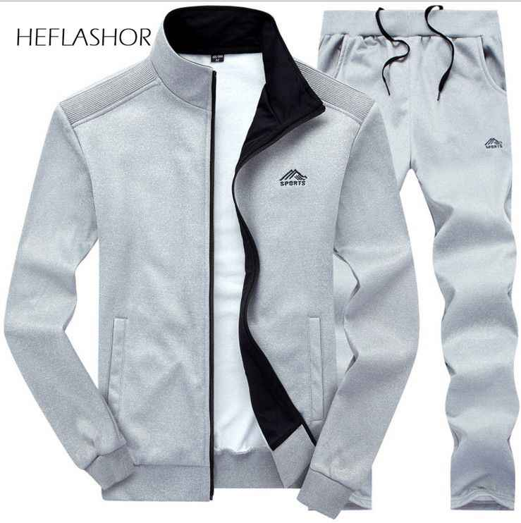 Heflashor Mannen Sets Mode Herfst Lente Sporting Suit Sweater + Trainingsbroek Heren Kleding 2 Stuks Sets Slanke Trainingspak Hoodies