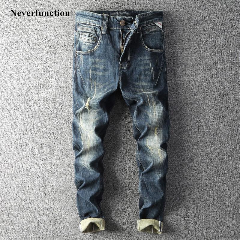 Men Autumn Vintage Ripped Cotton Motorcycle Casual Biker Jeans Hip Hop Streetwear Male Holes Straight Joggers Denim Pants