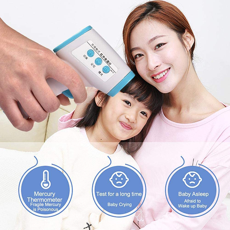 2PCS  Baby Forehead Ear Thermometer Infrared Digital LCD Baby Measurement Temperature Gun With Data Holding Backlight Function