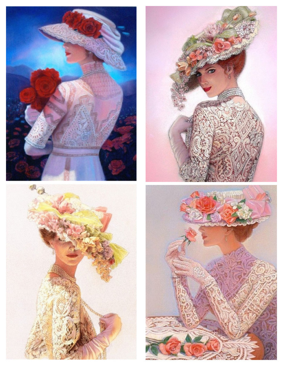 DIY 5D алмазная картина шляпа Изображение девушки полное сверление Алмазная картина вышивка домашнее украшение с бриллиантами