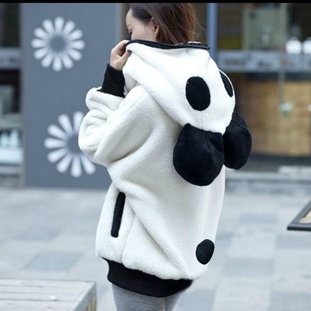 Women Autumn Winter Warm Plush Hoodie Coat Panda  Jacket