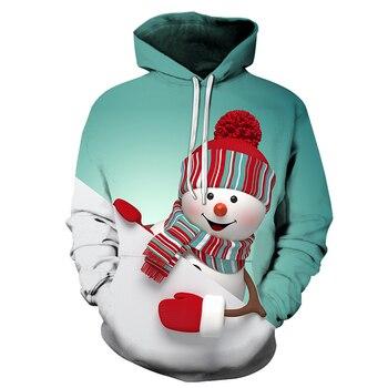 Christmas Oversized Hoodie men and women Big Pocket Cartoon Snowman Print Santa New Year Hoodies Sweatshirt Pullover christmas digital print pullover hoodie