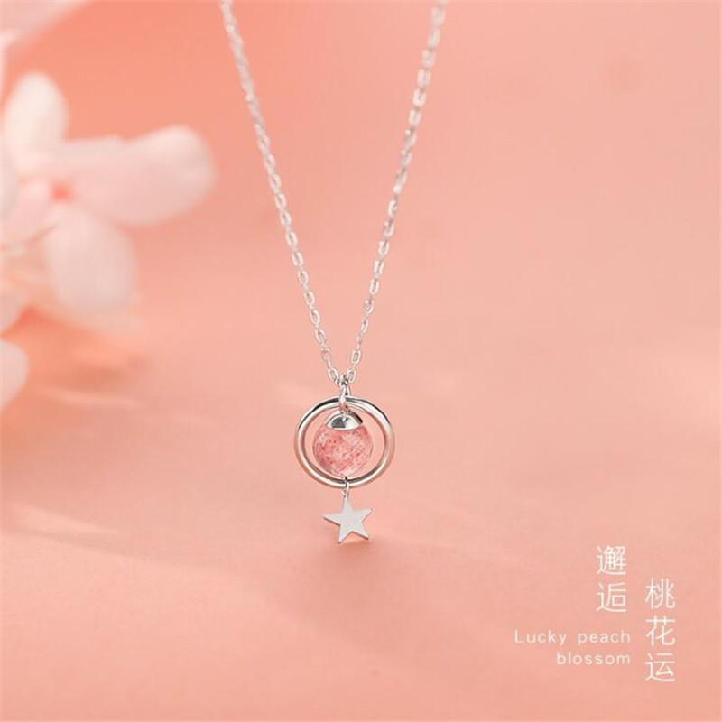 New Fresh And Lovely Stars Strawberry Pink Crystal 925 Sterling Silver Jewelry Magic Circle Women Pendant Necklaces  H525