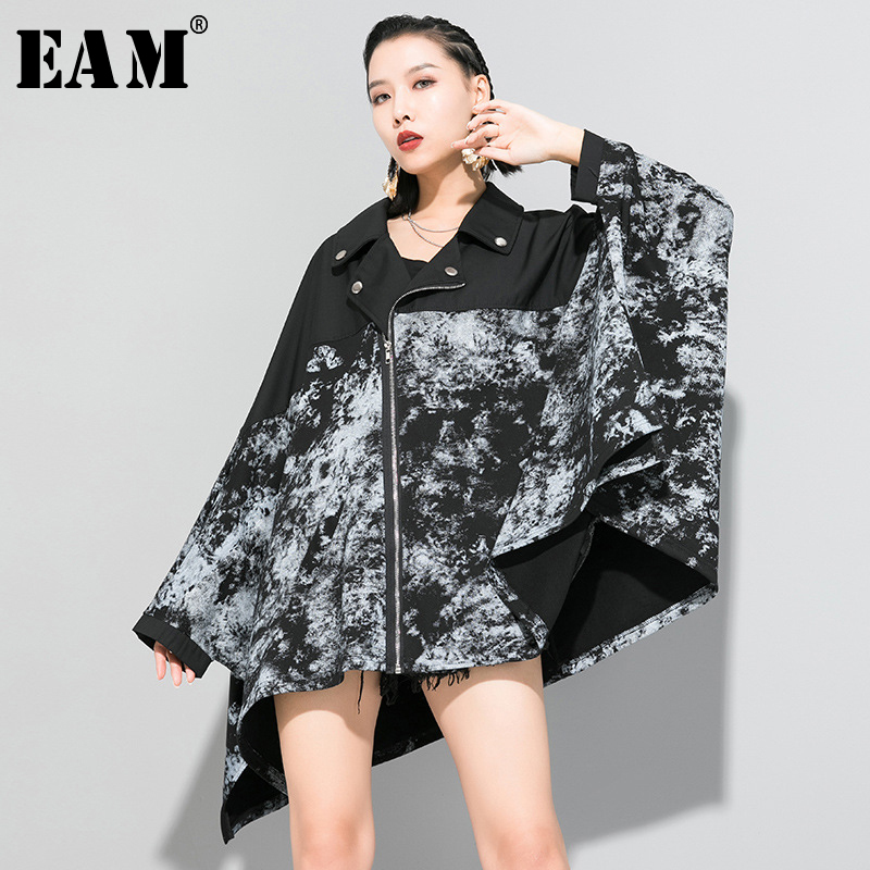 [EAM] Loose Fit Black Pattern Printed Big Size Jacket New Lapel Long Batwing Sleeve Women Coat Fashion Tide Spring 2020 1R653