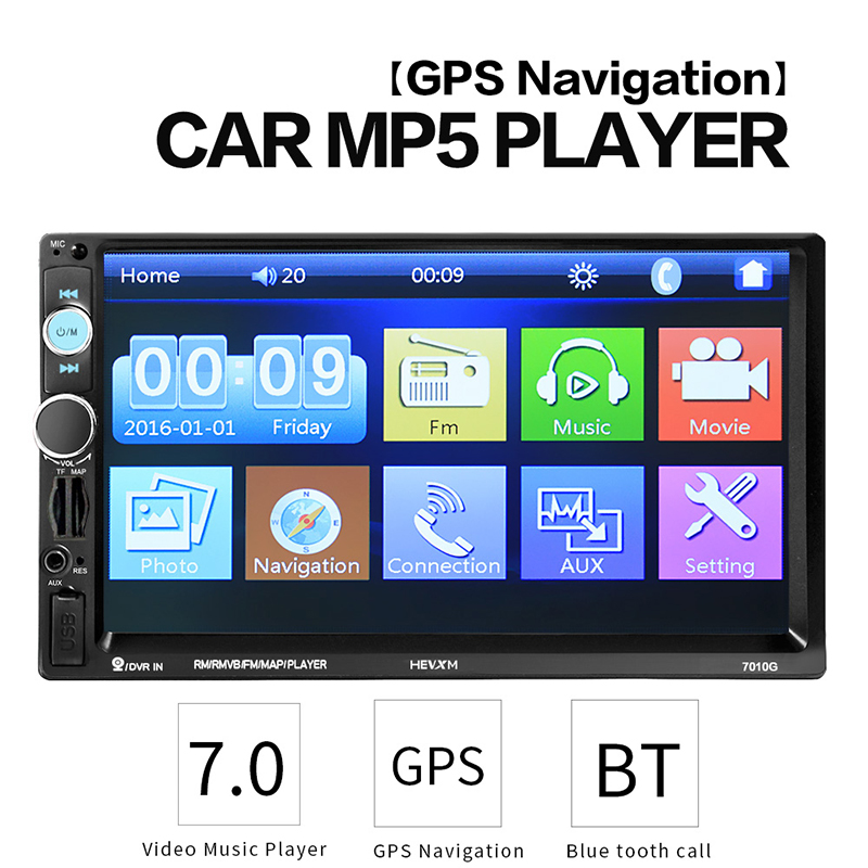 TOSPRA HD 7 autoradio 2 Car Multimedia Player recorder Touch Screen car audio bluetooth rear view camera mp5 player 7010G image