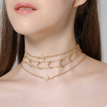 Simple multi-element suit item decoration double-layer diamond V-shaped thin neck necklace woman X0091(China)