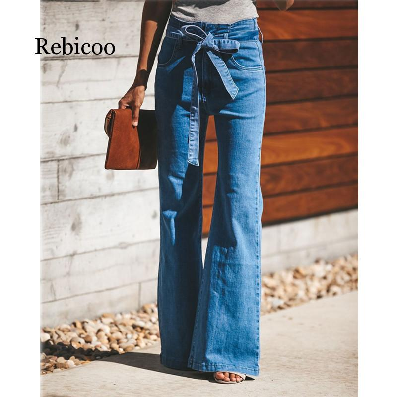 Blue Tie Waist Flare Jeans Women Slim Denim Trousers Vintage Clothes  Spring High Waist Pants Belted Stretchy Wide Leg Jeans