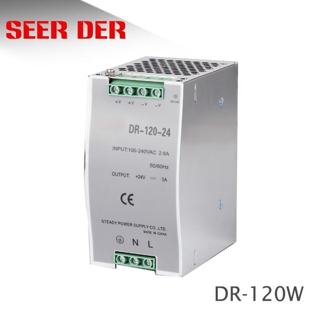 Fonte de alimentação estilo fitwell dr 120 24 120w 12v 24v 48v din rail alumínio enclosure smps/interruptor de fonte de alimentação
