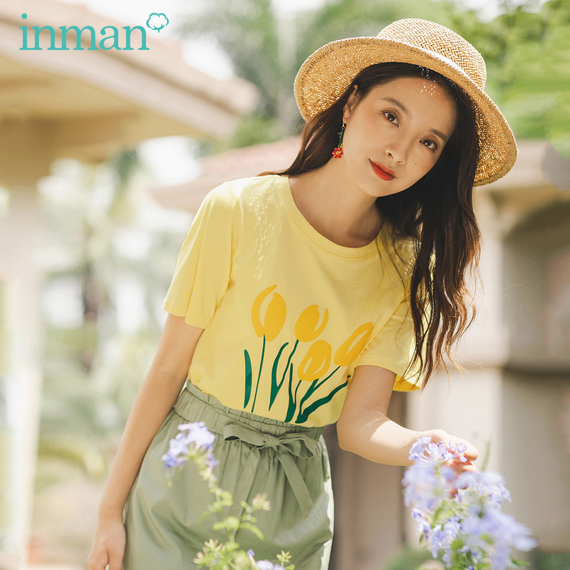 INAMN 2020 Summer New Arrival Sweet Loose O-neck Literary Print Cotton Pure And Fresh Short Sleeve T-shirt
