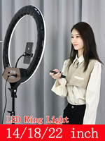 LED Selfie Ring Lamp 14 18 22 Live Studio Ring Light 3200 5600K Dimmable Lighting with Tripod for Video Makeup Photography