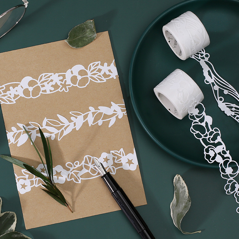 1 X Floral Hollow Openwork Lace Washi Tape DIY Decoration Scrapbooking Planner Masking Tape Adhesive Tape Kawaii Stationery